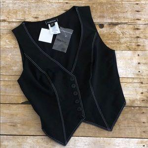 NWT Bebe Black Cropped Vest 0